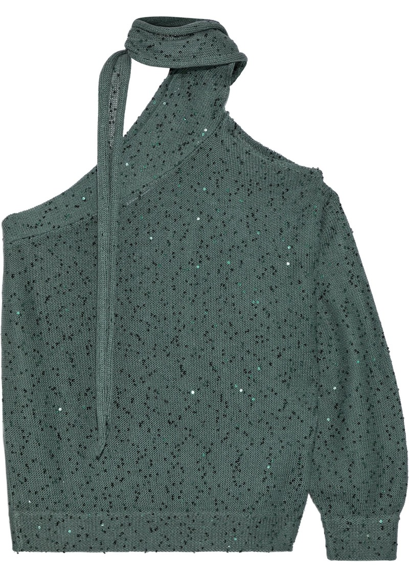 Brunello Cucinelli Woman One-shoulder Sequin-embellished Linen And Silk-blend Top Grey Green