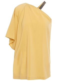 Brunello Cucinelli Woman One-sleeve Bead-embellished Stretch-silk Crepe De Chine Top Yellow