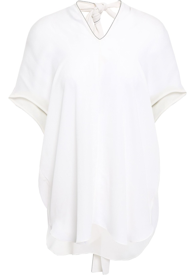 Brunello Cucinelli Woman Open-back Bead-embellished Silk-crepe Top White