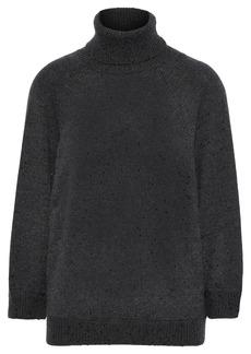 Brunello Cucinelli Woman Open-back Embellished Cashmere And Silk-blend Turtleneck Sweater Black