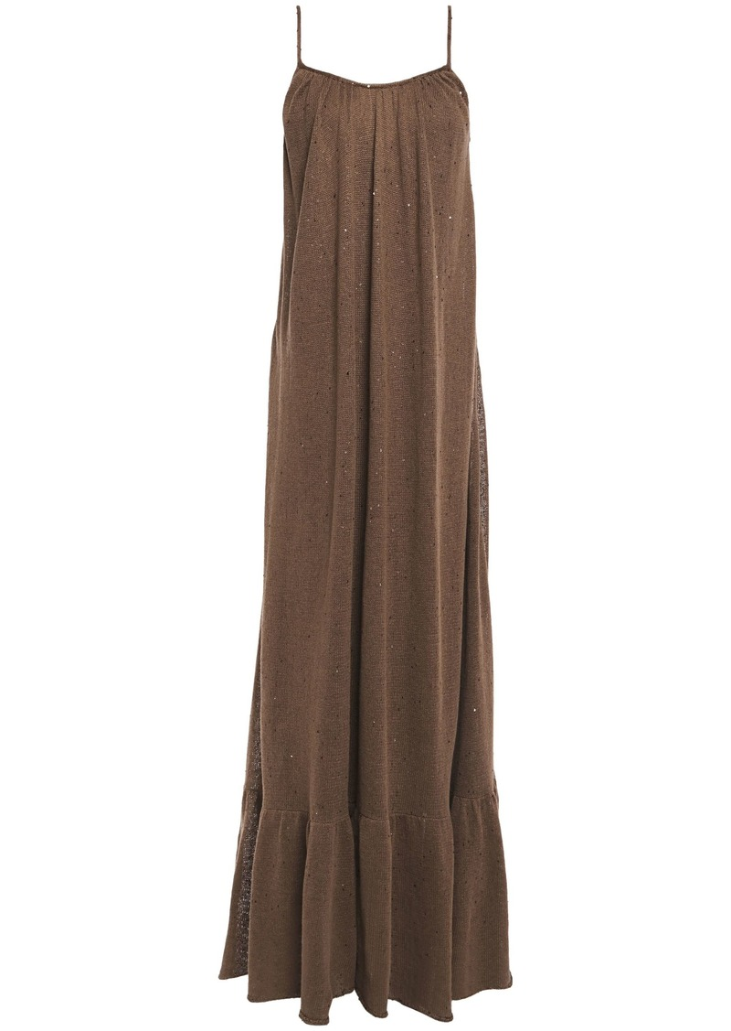 Brunello Cucinelli Woman Open-back Sequin-embellished Linen And Silk-blend Maxi Dress Light Brown