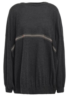 Brunello Cucinelli Woman Oversized Bead-embellished Cashmere And Silk-blend Sweater Black