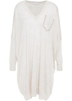 Brunello Cucinelli Woman Oversized Bead-embellished Mélange Cashmere And Silk-blend Dress Neutral