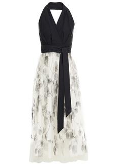 Brunello Cucinelli Woman Paneled Embroidered Tulle And Cotton-poplin Halterneck Midi Dress Black
