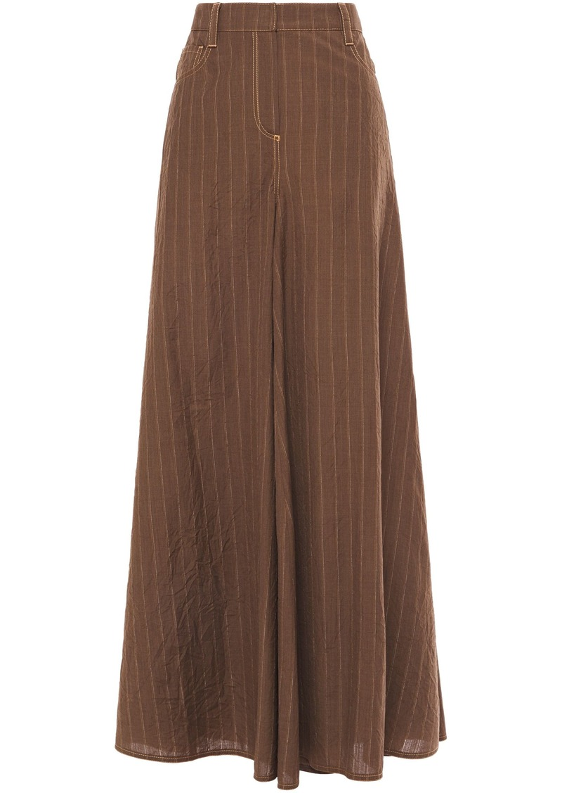 Brunello Cucinelli Woman Pinstriped Crinkled-wool Wide-leg Pants Chocolate