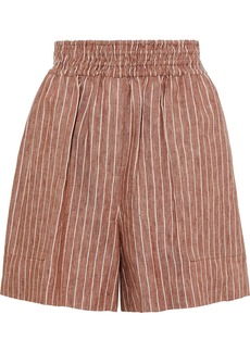 Brunello Cucinelli Woman Pinstriped Linen Shorts Brown
