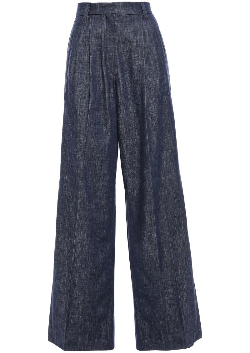 Brunello Cucinelli Woman Pleated Bead-embellished High-rise Wide-leg Jeans Dark Denim