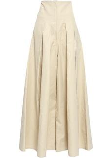 Brunello Cucinelli Woman Pleated Cotton-blend Gabardine Wide-leg Pants Beige