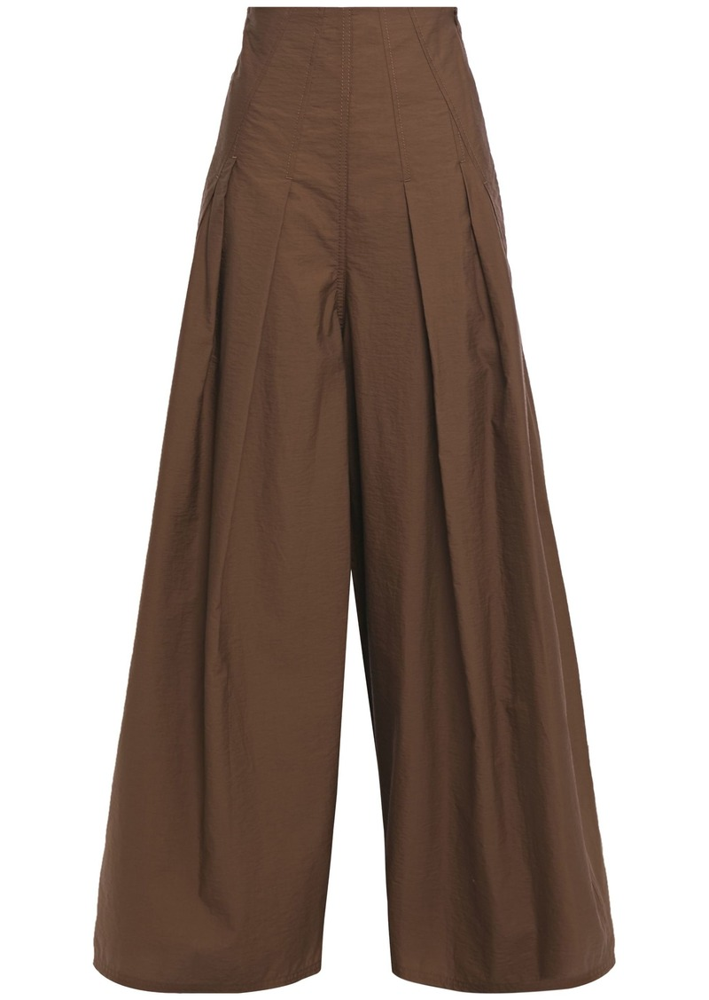 Brunello Cucinelli Woman Pleated Cotton-blend Wide-leg Pants Chocolate
