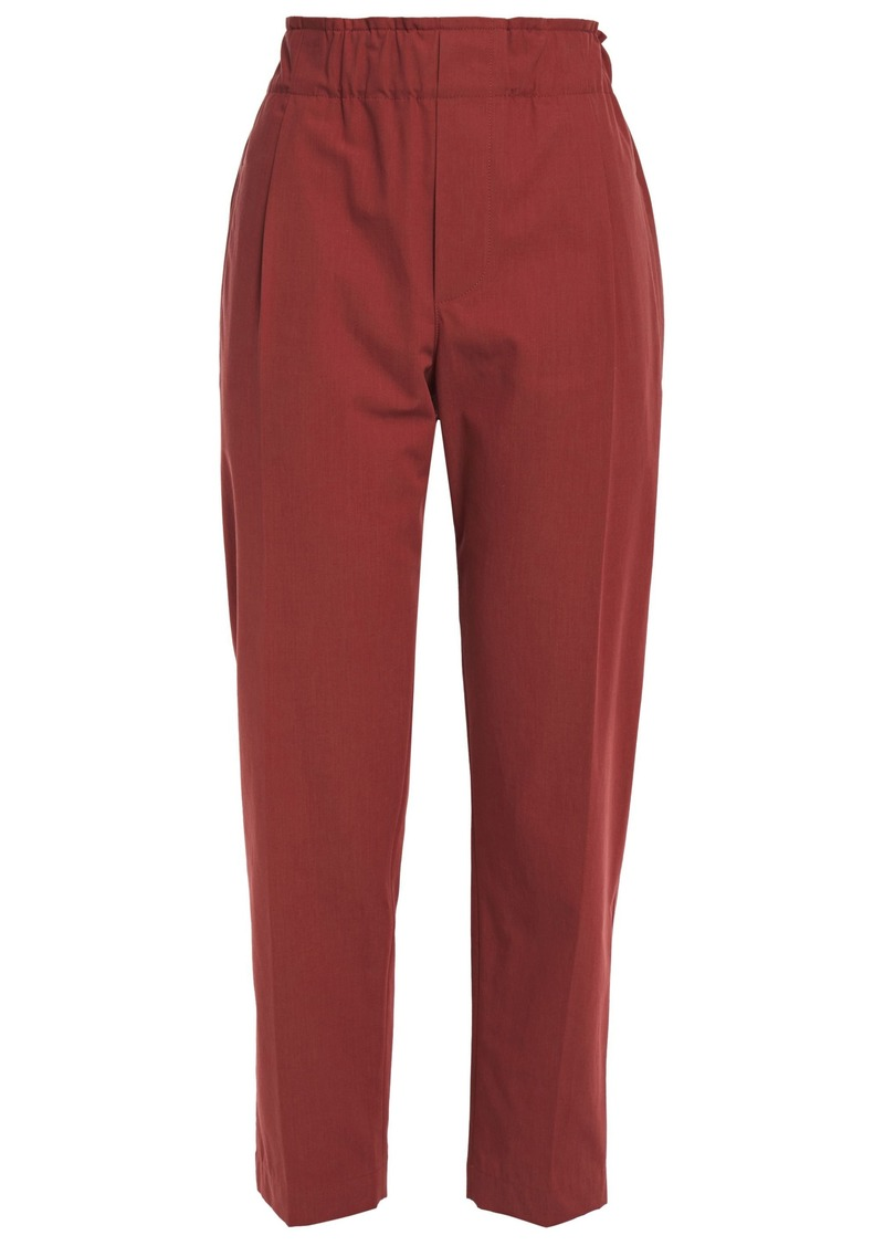 Brunello Cucinelli Woman Pleated Cotton-poplin Tapered Pants Brick