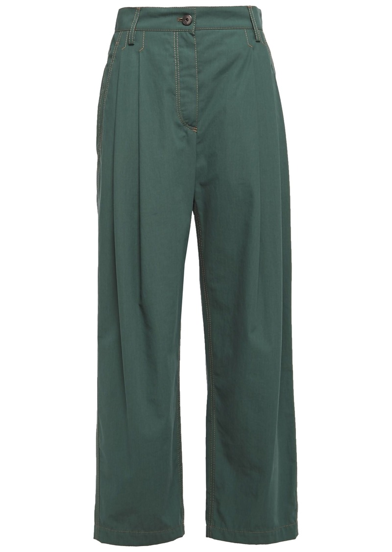 Brunello Cucinelli Woman Pleated Cotton Straight-leg Pants Emerald