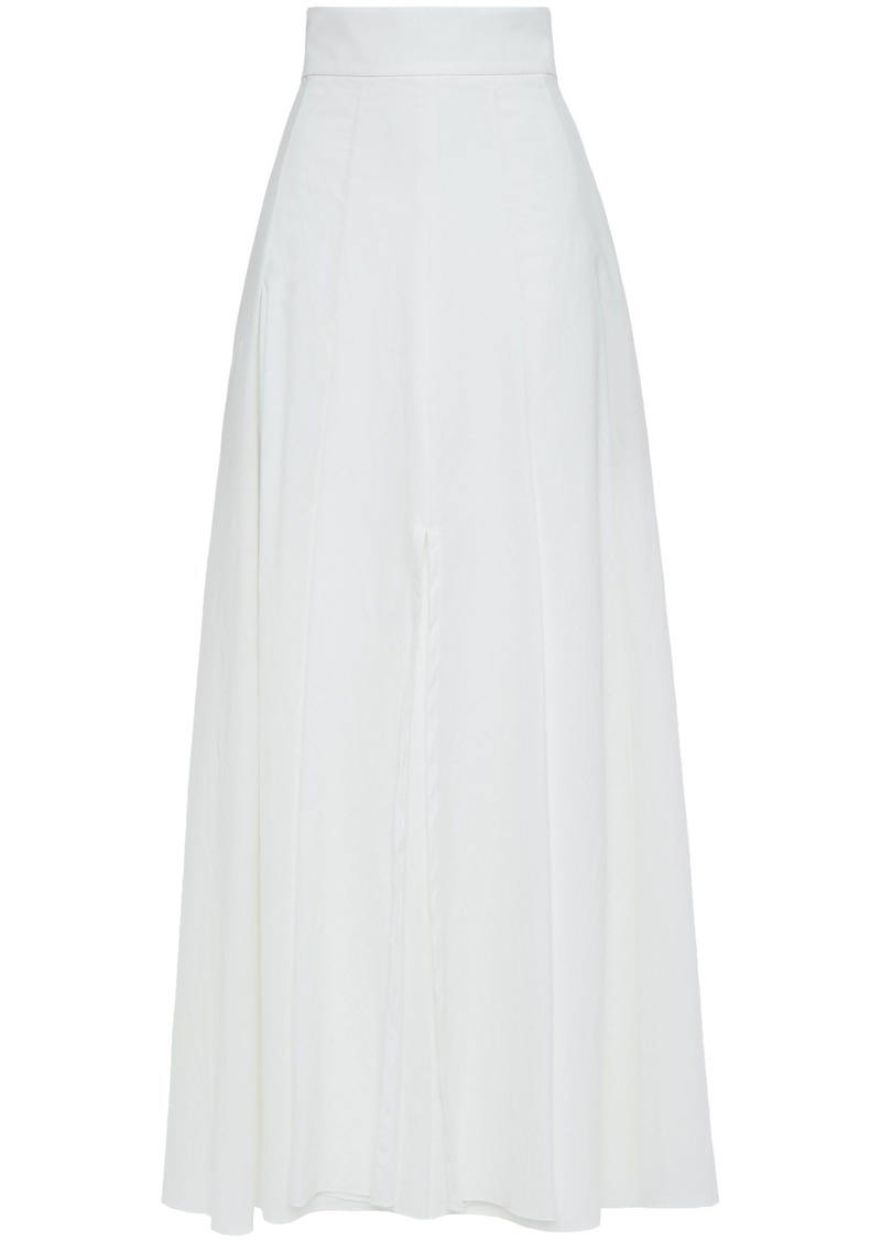 Brunello Cucinelli Woman Pleated Crinkled Cotton-blend Maxi Skirt Ivory