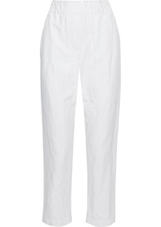 Brunello Cucinelli Woman Pleated Crinkled Cotton-blend Straight-leg Pants White