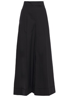 Brunello Cucinelli Woman Pleated Crinkled Cotton-blend Wide-leg Pants Black