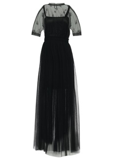 Brunello Cucinelli Woman Pleated Crystal-embellished Tulle Gown Black