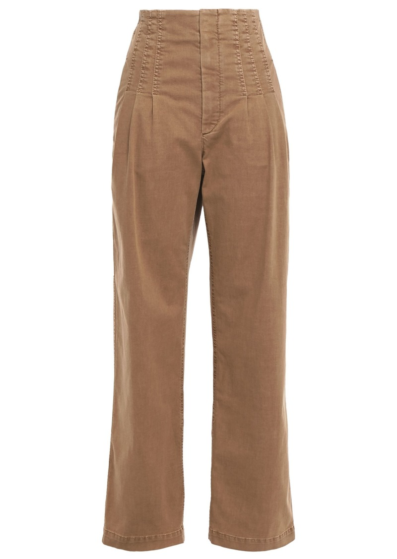 Brunello Cucinelli Woman Pleated High-rise Straight-leg Jeans Camel