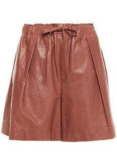 Brunello Cucinelli Woman Pleated Leather Shorts Brown