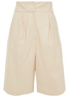 Brunello Cucinelli Woman Pleated Leather Shorts Cream