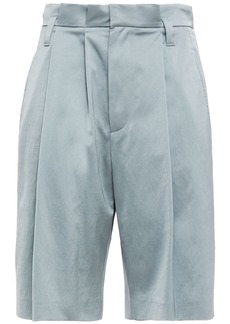 Brunello Cucinelli Woman Pleated Satin-crepe Shorts Slate Blue