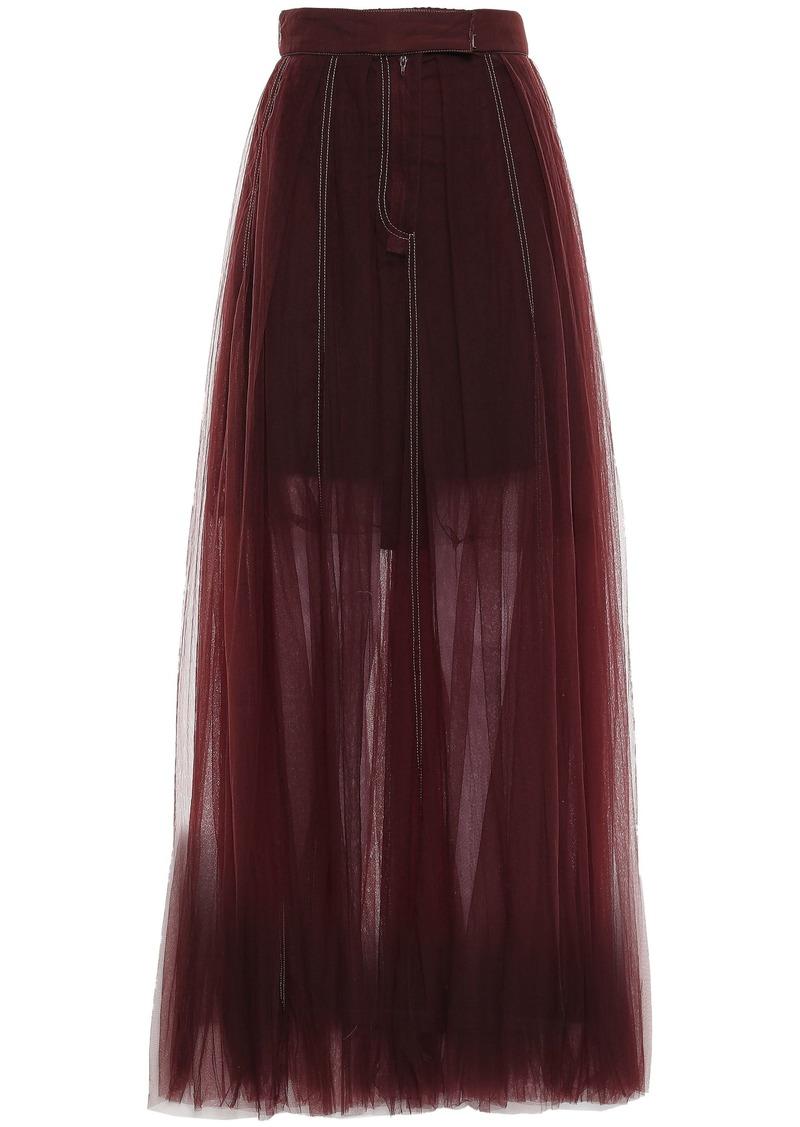 Brunello Cucinelli Woman Pleated Tulle Maxi Skirt Burgundy