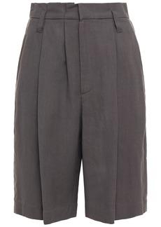 Brunello Cucinelli Woman Pleated Twill Shorts Dark Gray