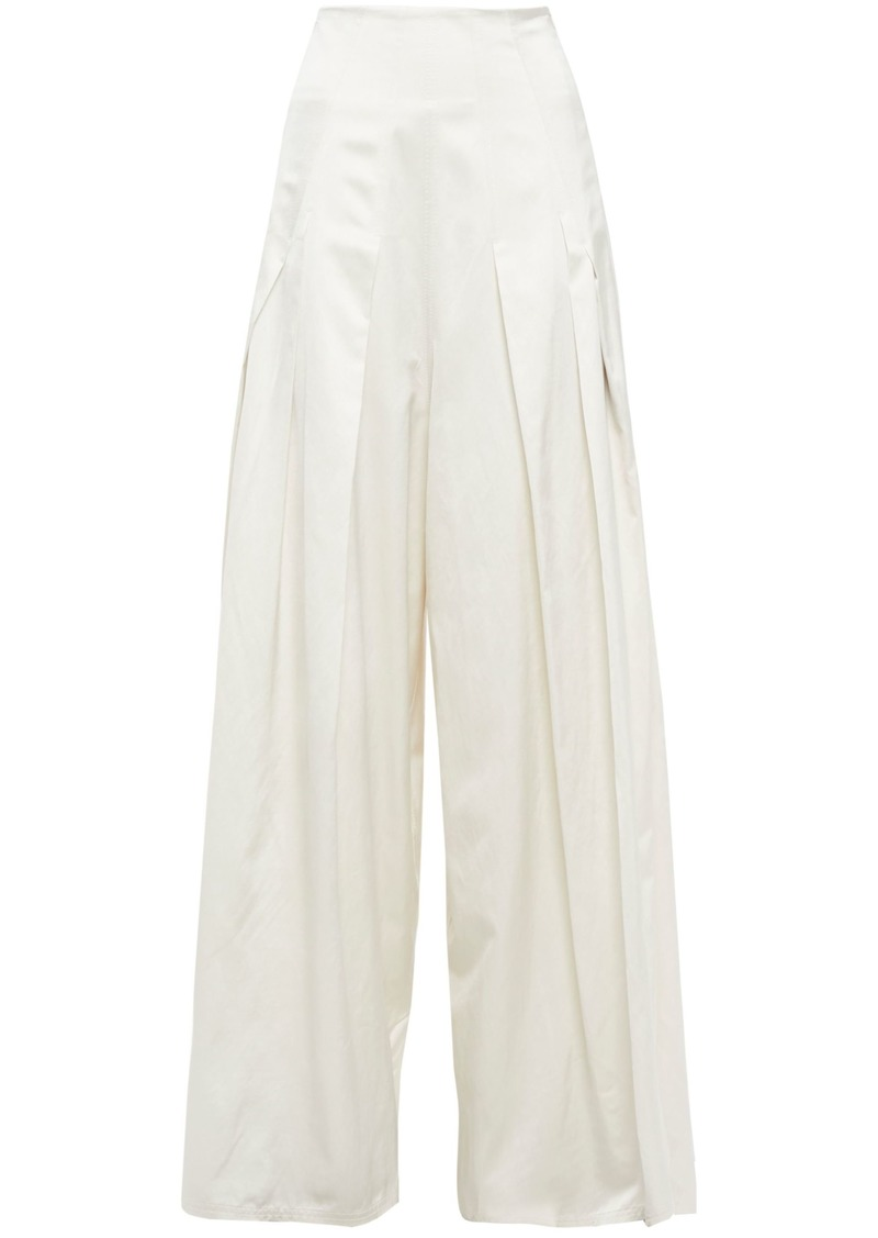 Brunello Cucinelli Woman Pleated Twill Wide-leg Pants Ivory