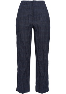 Brunello Cucinelli Woman Prince Of Wales Checked Cotton-blend Straight-leg Pants Midnight Blue