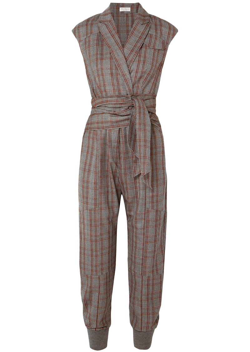 Brunello Cucinelli Woman Prince Of Wales Checked Wool Jumpsuit Dark Gray