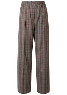 Brunello Cucinelli Woman Prince Of Wales Checked Wool Wide-leg Pants Gray