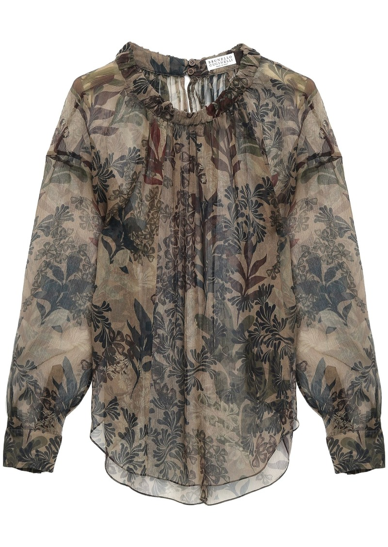 Brunello Cucinelli Woman Printed Crinkled Silk-gauze Blouse Taupe
