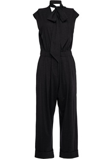 Brunello Cucinelli Woman Pussy-bow Stretch-wool Jersey Wide-leg Jumpsuit Charcoal