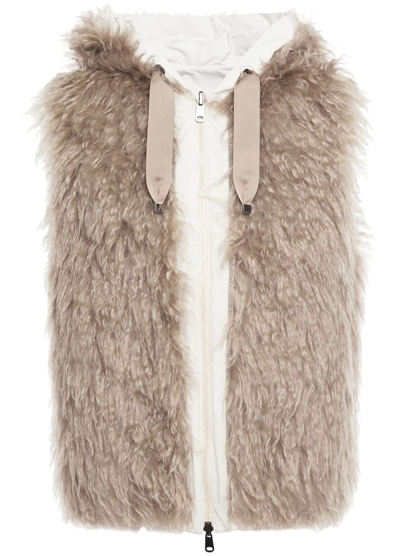 Brunello Cucinelli Woman Reversible Bead-embellished Mohair And Cotton-blend Vest Beige