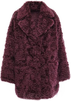 Brunello Cucinelli Woman Reversible Mohair And Cotton-blend Coat Plum