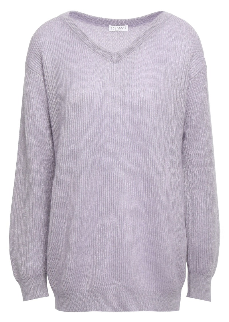 Brunello Cucinelli Woman Ribbed-knit Sweater Lilac