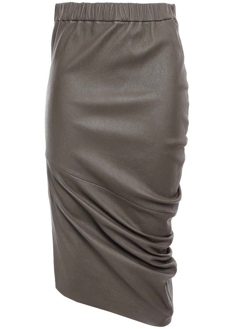 Brunello Cucinelli Woman Ruched Leather Pencil Skirt Mushroom
