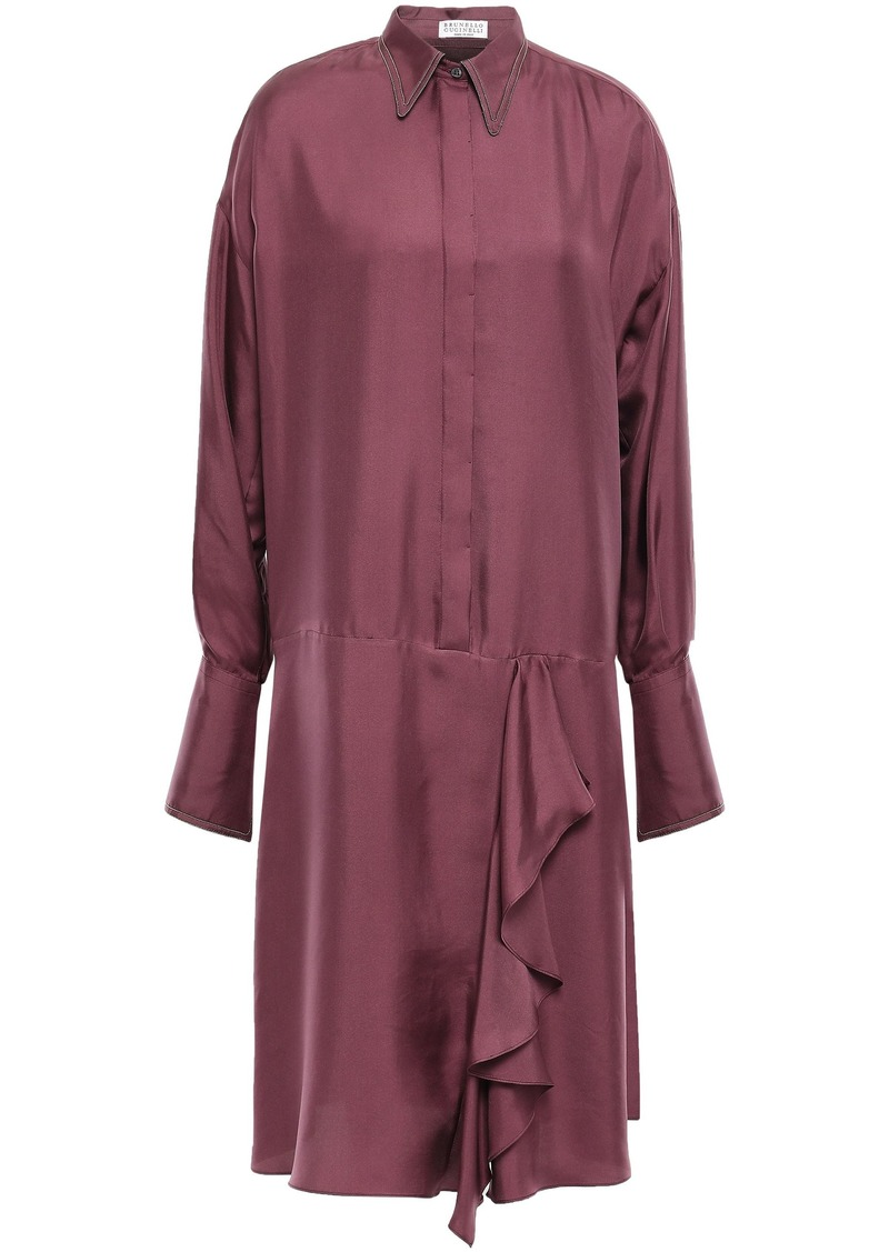 Brunello Cucinelli Woman Draped Bead-embellished Silk-twill Shirt Dress Plum