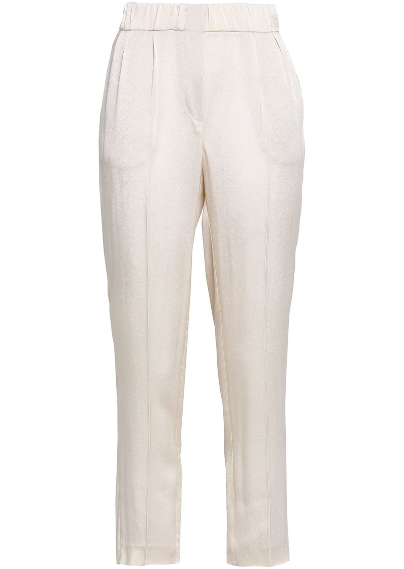 Brunello Cucinelli Woman Cropped Crepe-satin Tapered Pants Ecru