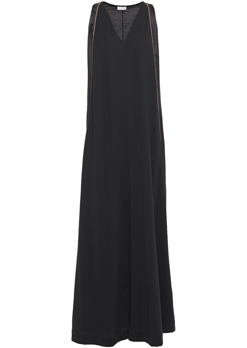 Brunello Cucinelli Woman Satin-paneled Cotton-jersey Maxi Dress Black