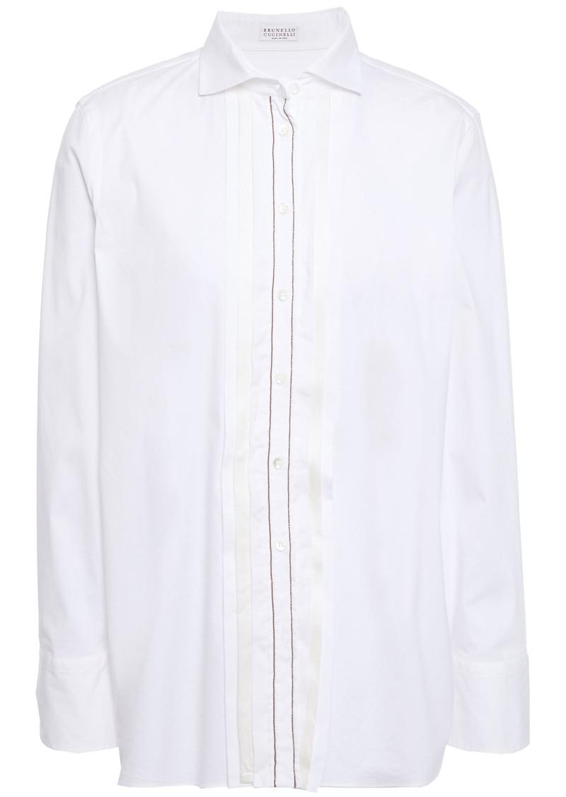 Brunello Cucinelli Woman Satin-trimmed Bead-embellished Cotton-blend Poplin Shirt White
