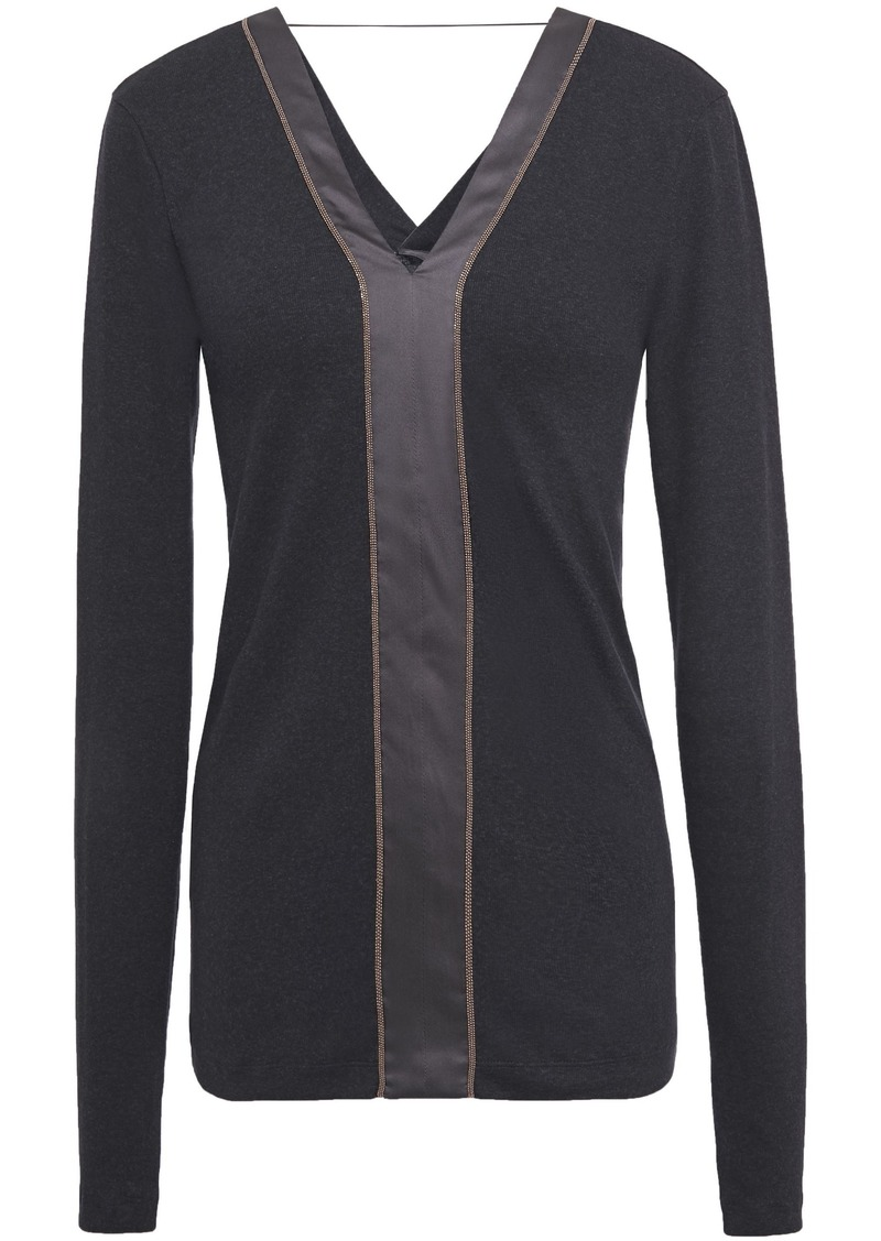 Brunello Cucinelli Woman Satin-trimmed Bead-embellished Ribbed Stretch Cotton-jersey Top Charcoal