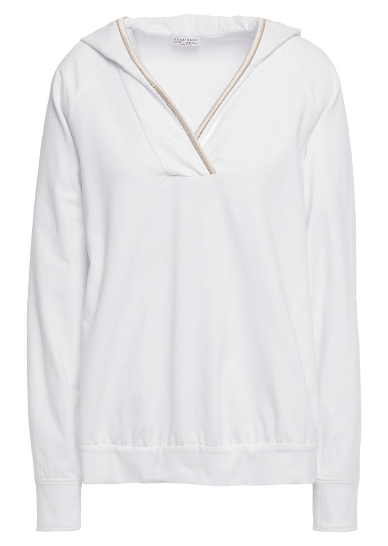 Brunello Cucinelli Woman Satin-trimmed Bead-embellished Stretch Cotton-fleece Hoodie White
