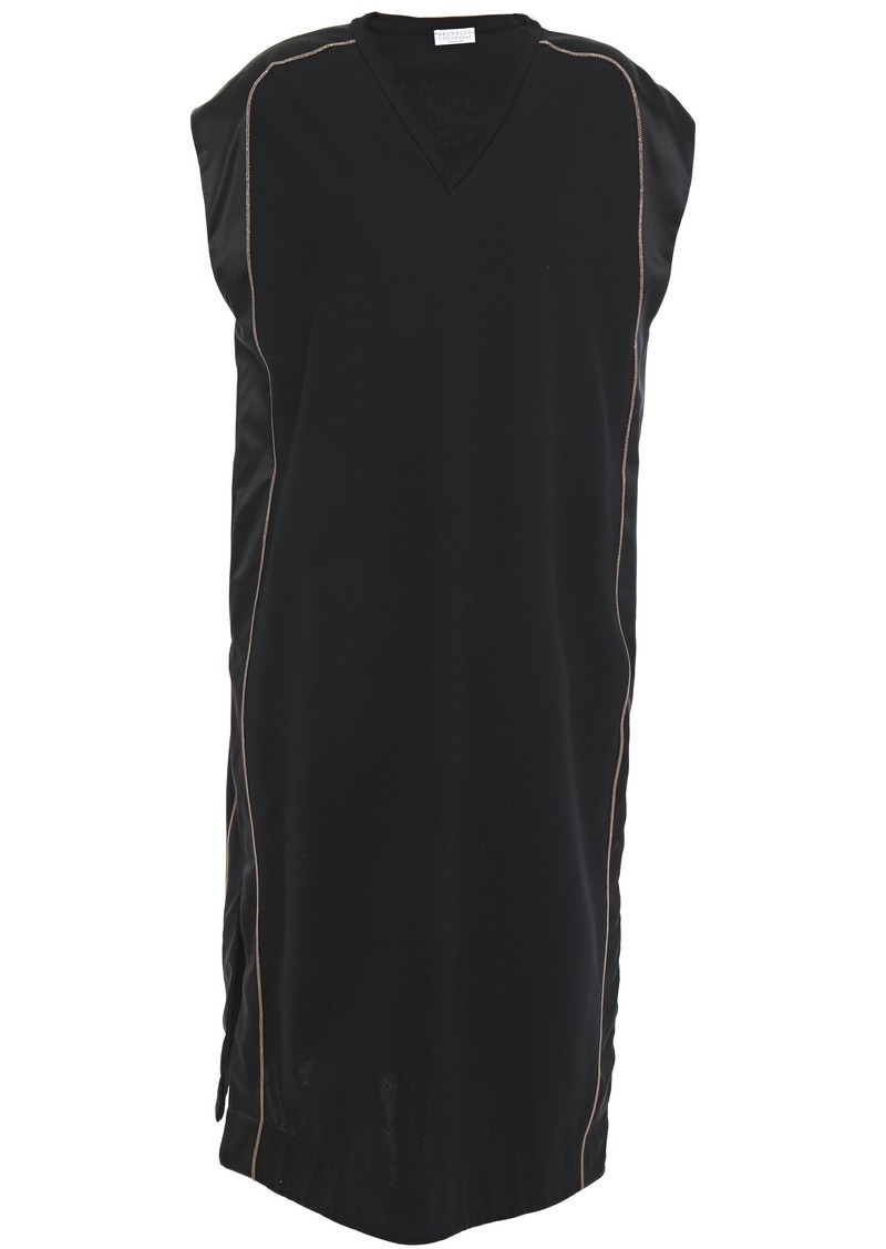 Brunello Cucinelli Woman Satin-trimmed Bead-embellished Stretch Cotton-jersey Dress Black