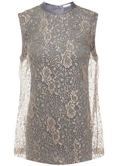 Brunello Cucinelli Woman Satin-trimmed Layered Metallic Lace And Jersey Top Gold