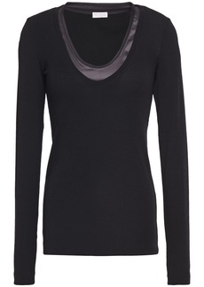 Brunello Cucinelli Woman Satin-trimmed Stretch-cotton Jersey Top Black