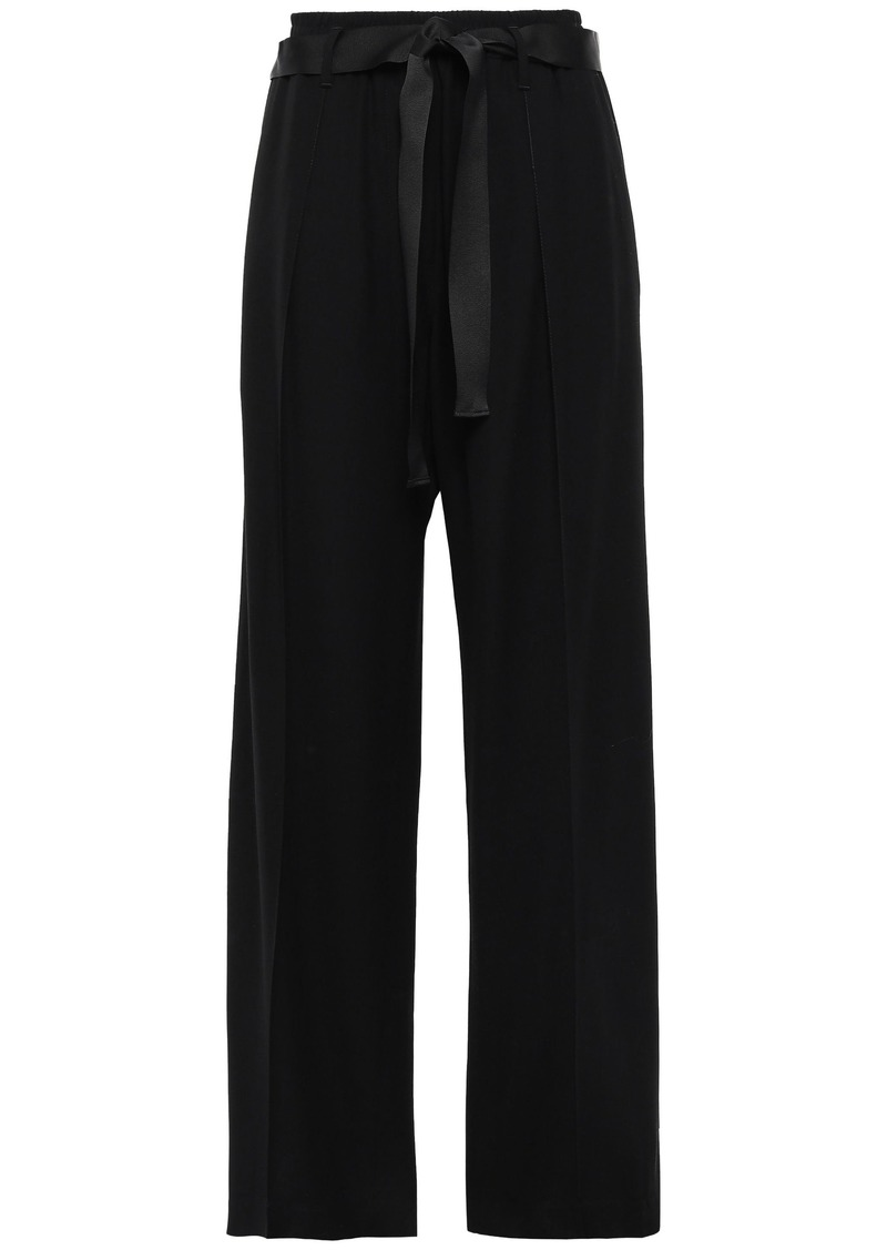 Brunello Cucinelli Woman Satin-trimmed Twill Wide-leg Pants Black