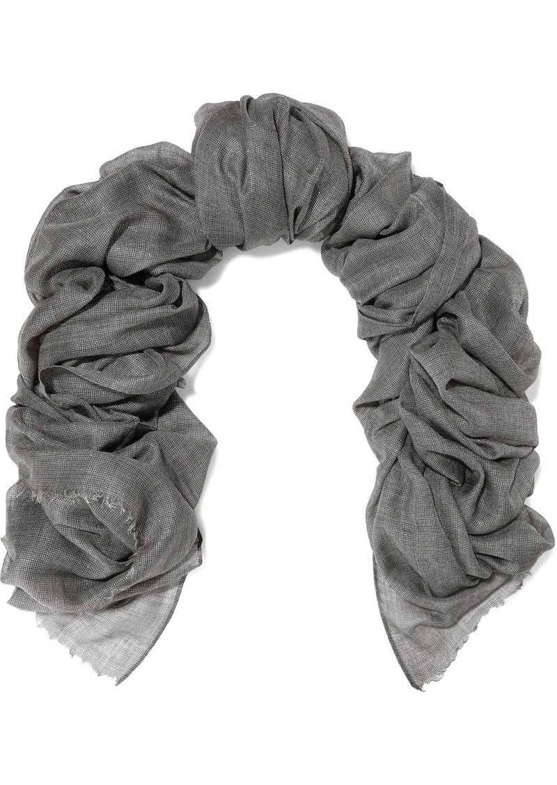 Brunello Cucinelli Woman Metallic Cashmere-blend Gauze Scarf Gray