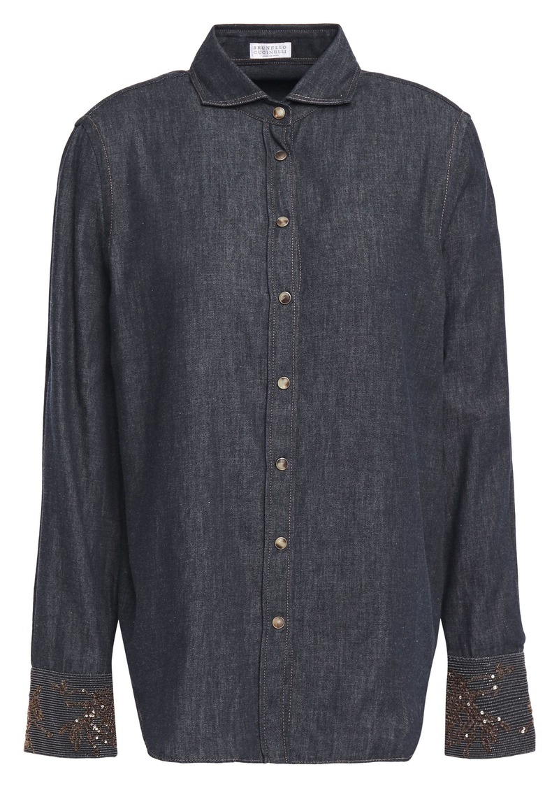 Brunello Cucinelli Woman Sequin And Bead-embellished Cotton-chambray Shirt Dark Denim