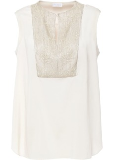 Brunello Cucinelli Woman Sequin And Bead-embellished Stretch-silk Blouse Cream