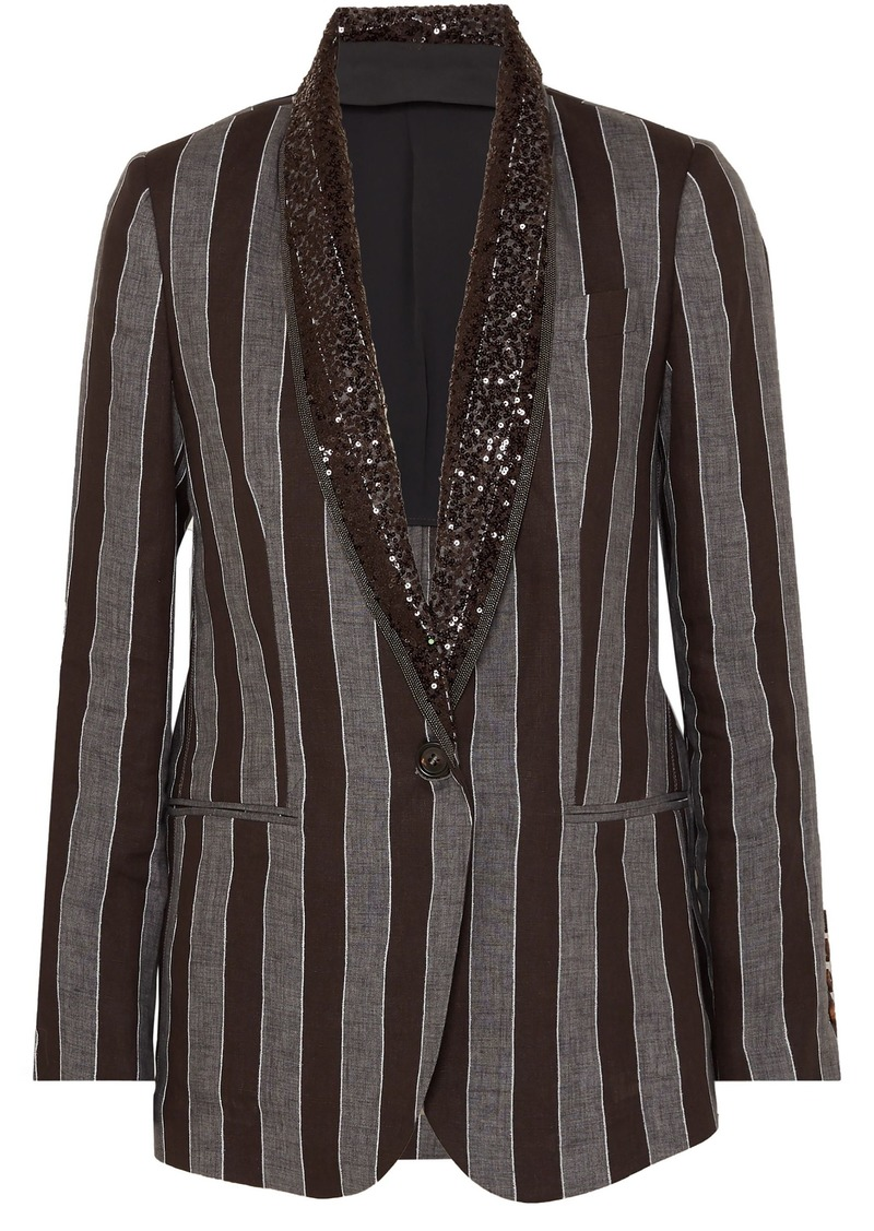 Brunello Cucinelli Woman Sequin And Bead-embellished Striped Linen Blazer Black