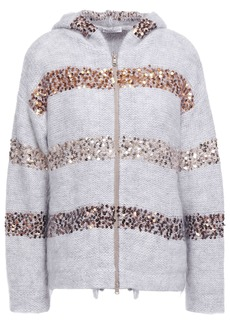 Brunello Cucinelli Woman Sequin-embellished Brushed Knitted Hooded Cardigan Light Gray